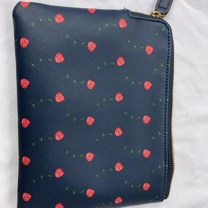 "Anthropologie cosmetic bag 6""x8"" blue red roses"